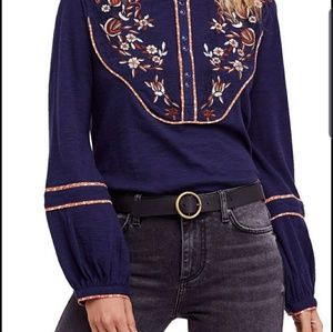 Free people Colorful floral ling sleeve top. SizeL